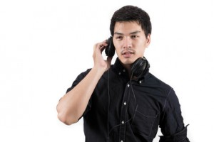 Isolated asian man with headset