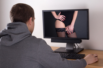 xxx concept - man looking at sexy woman in computer